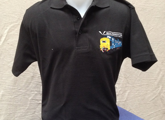 Black polo shirt with DPS logo and blue Deltic