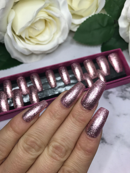 Pink Glitter Long Coffin Gel Nails