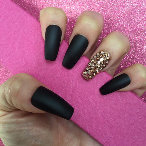 Matte Black Long Coffin Nails With Rose Gold Swarovskis
