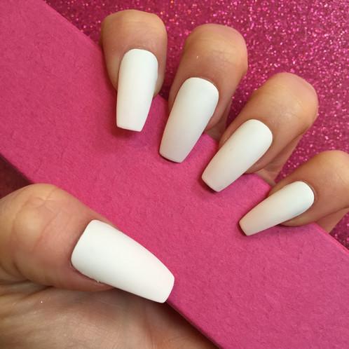 Matte White Long Coffin Nails