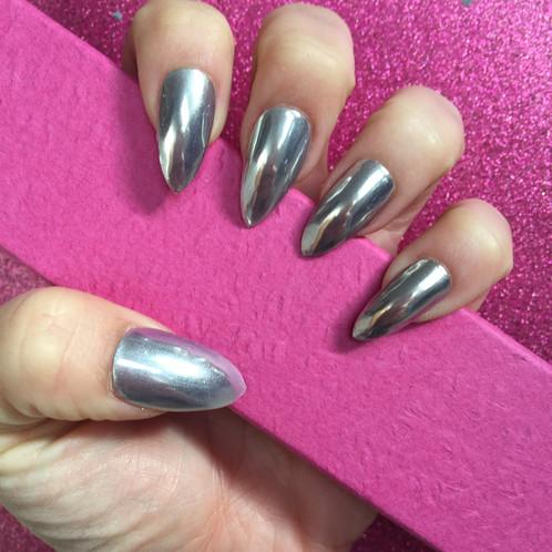 Silver Chrome Stiletto Gel Nails
