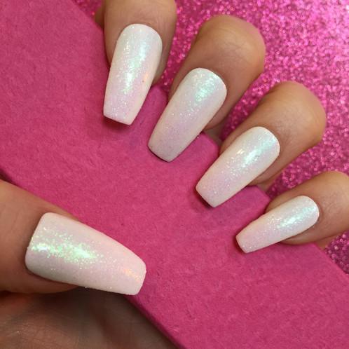 Unicorn White Long Coffin Gel Nails
