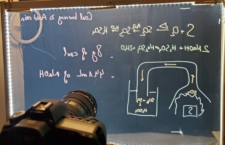 Lightboard screen capture behind the sce