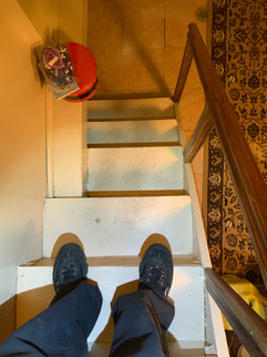 Narrow and uneaven stairs.