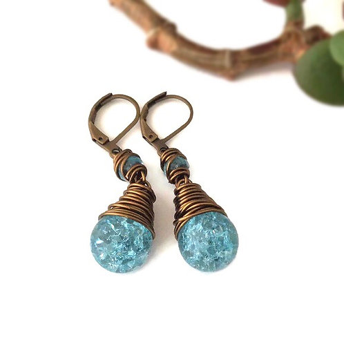 Crackle Glass Drop Earring