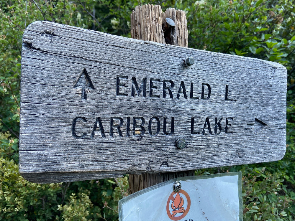 Emerald Lake and Caribou Lake trail junction on the Stuart Fork Trail in the Trinity Alps Wilderness.