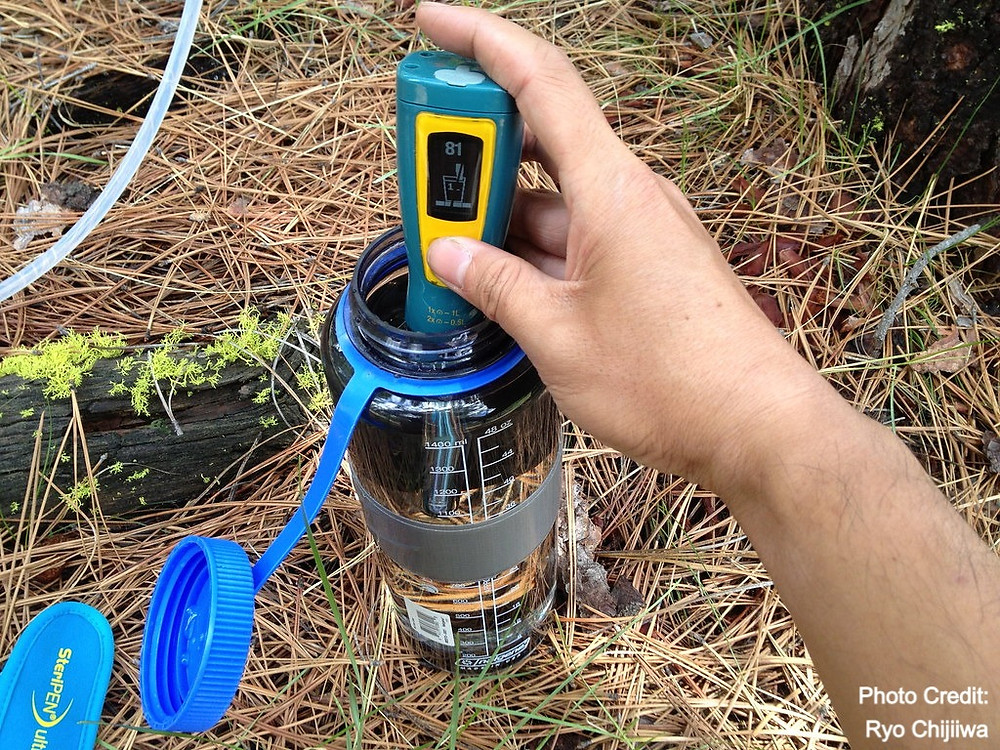 Using a Steripen Ultra UV to treat water.