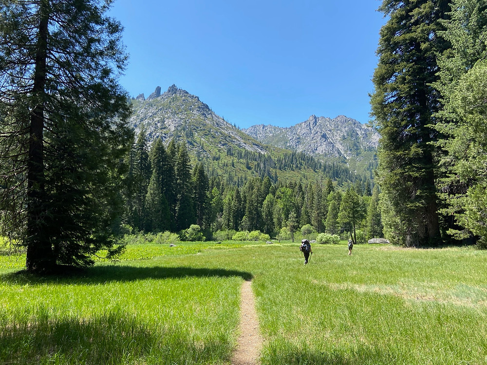 Hiking through Morris Meadows on the way to Emerald and Sapphire Lakes in the Trinity Alps Wilderness.