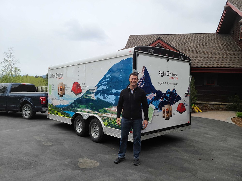 David and the RightOnTrek Express truck and trailer, ready to deliver your gear in Montana and Glacier National Park.