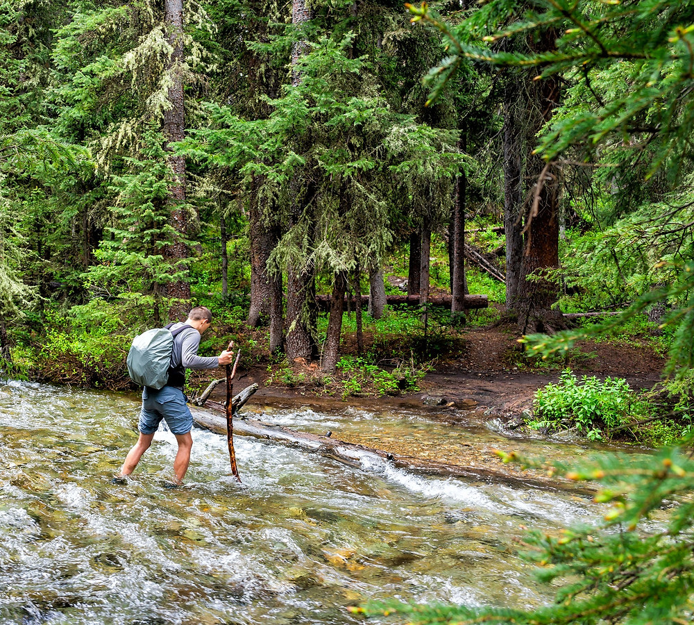 Aspen Colorado river fording crossing backpacking hiking