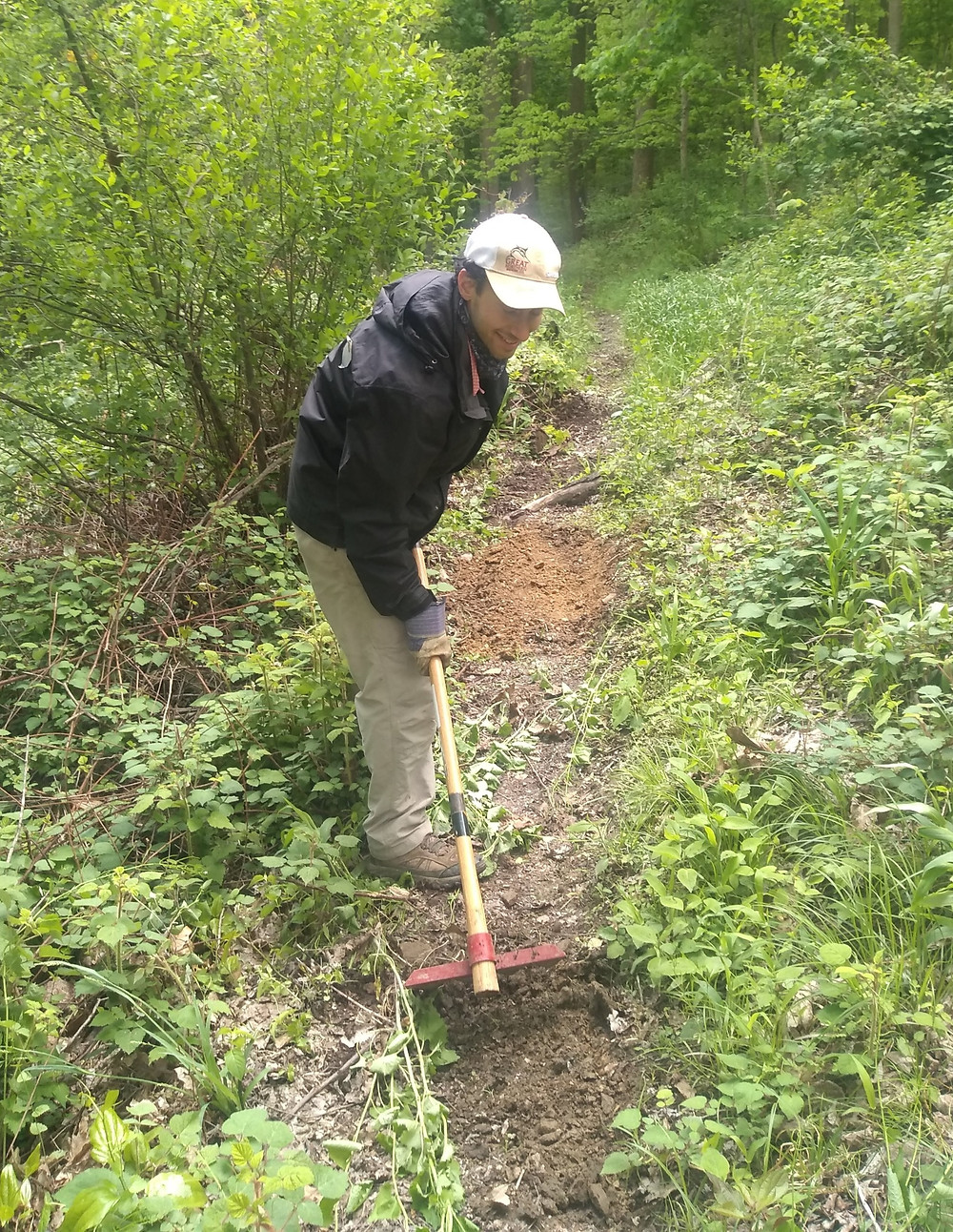 Eric Boxer clearing a section of the Buckeye Trail in Ohio.
