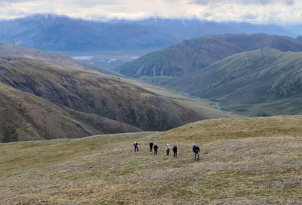Group of hikers making their way across a grassy knoll in remote northern Alaska.