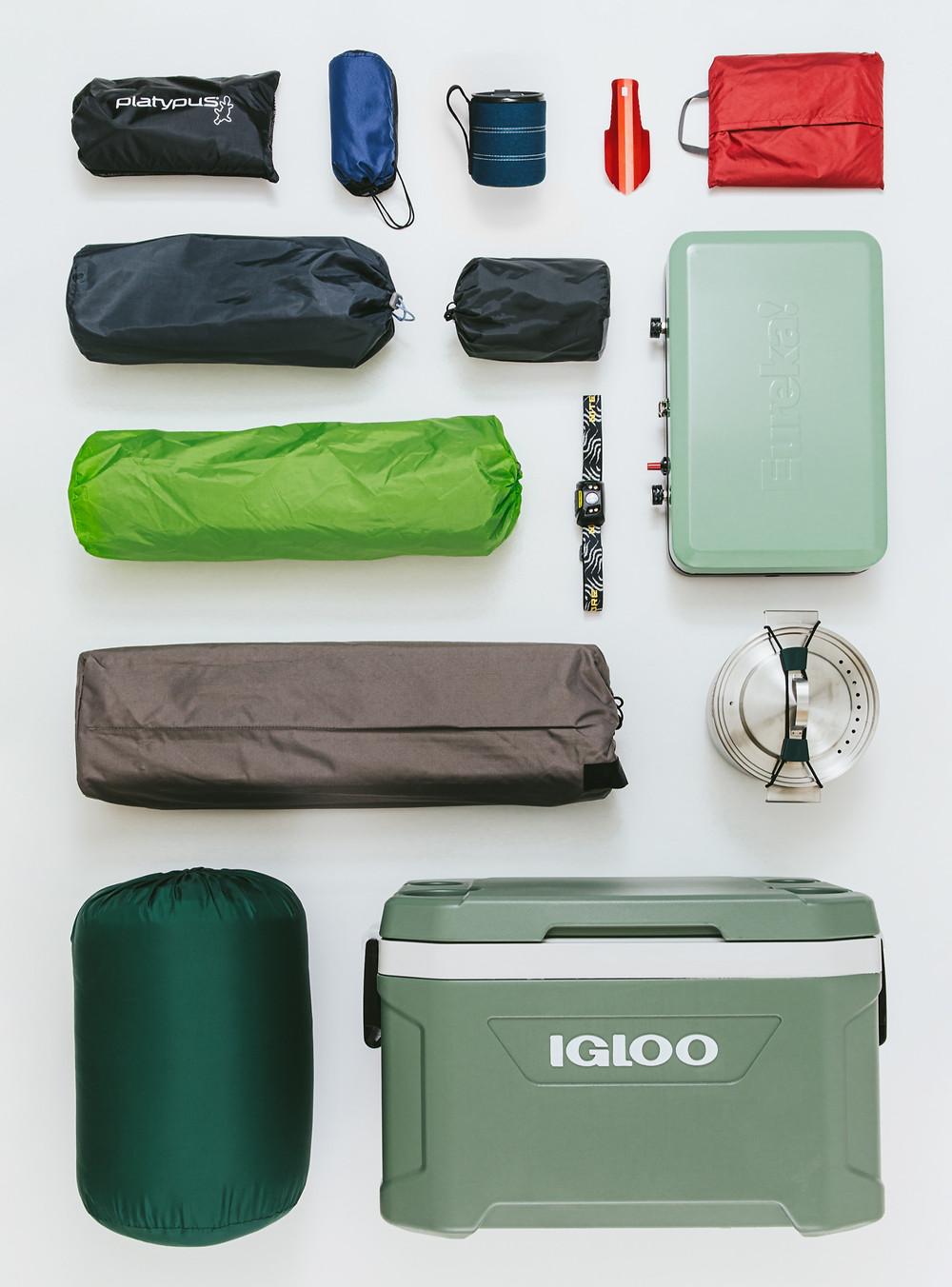 RightOnTrek car camping gear kit layout.