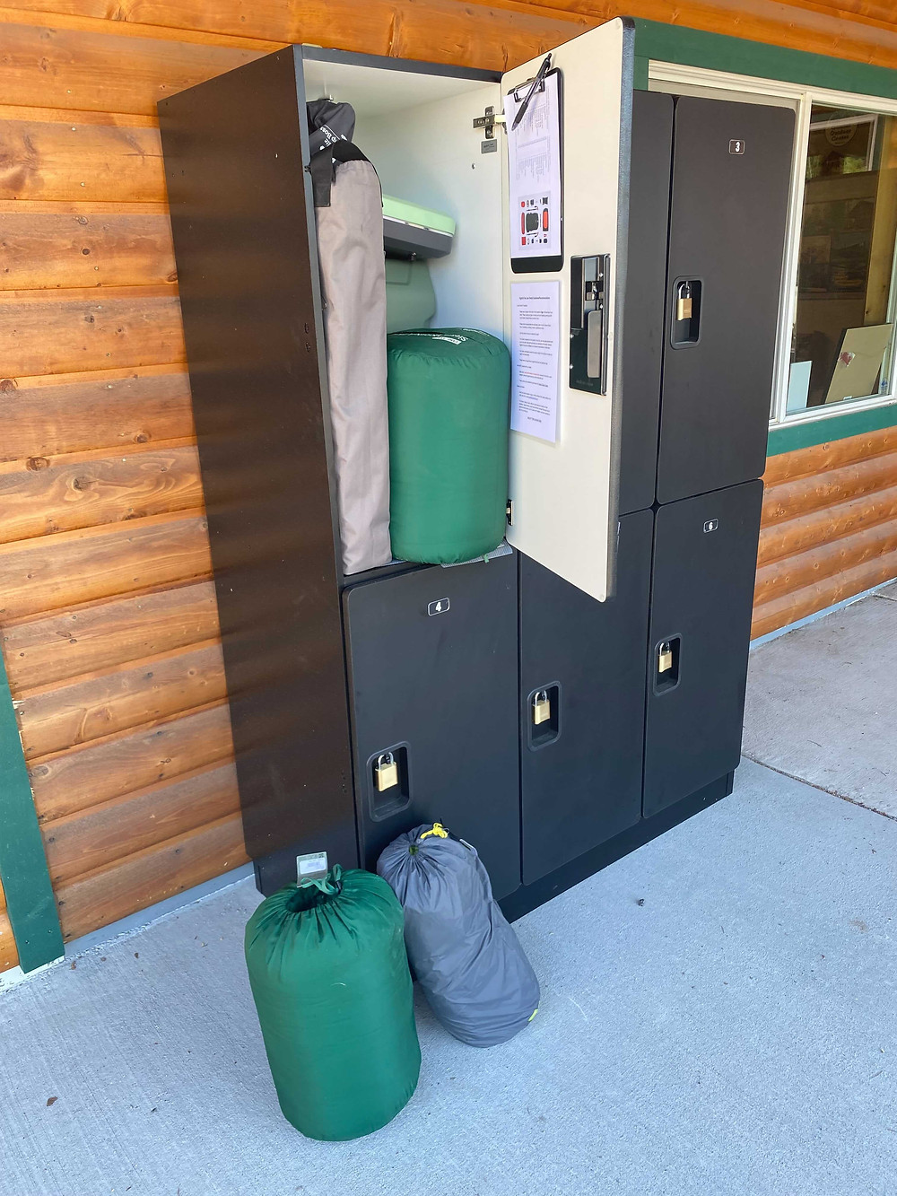 Lockers outside of the Glacier Outdoor Center