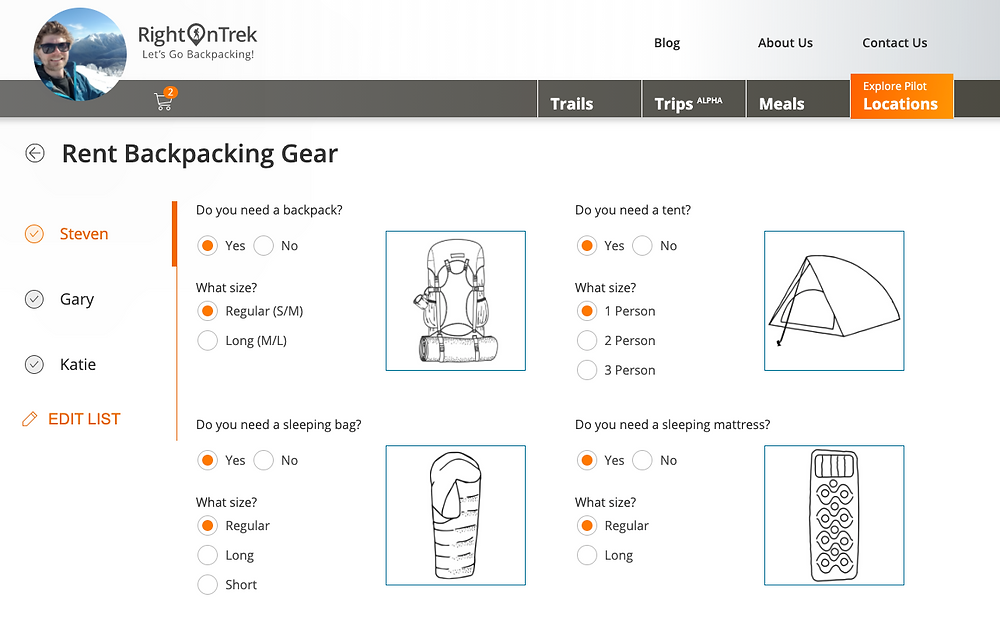 Customize your backpacking or car camping group rentals in just a few clicks.