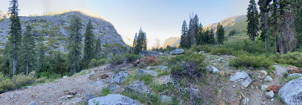 On the Stuart Fork Trail, hiking from Portuguese Camp to the Stuart Fork Valley and Emerald and Sapphire Lakes.