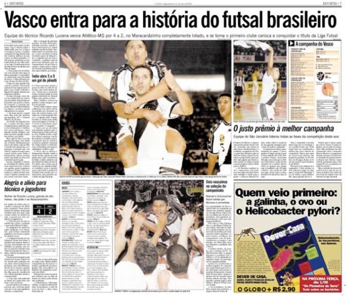 Crédito: Reprodução - Jornal destacando o feito do Vasco da Gama