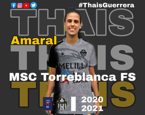 Thais Amaral ex São José está se transferindo para MSC TorreBlanca FC na Espanha