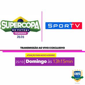 A segunda partida da Supercopa de Futsal Feminina terá transmissão ao vivo e exclusiva pelo Sportv