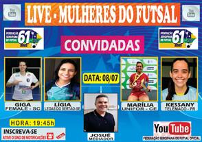 Live Federação Sergipana aborda o tema mulheres do Futsal