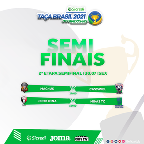Saiba aonde assistir aos jogos das semifinais da Taça Brasil Sicredi