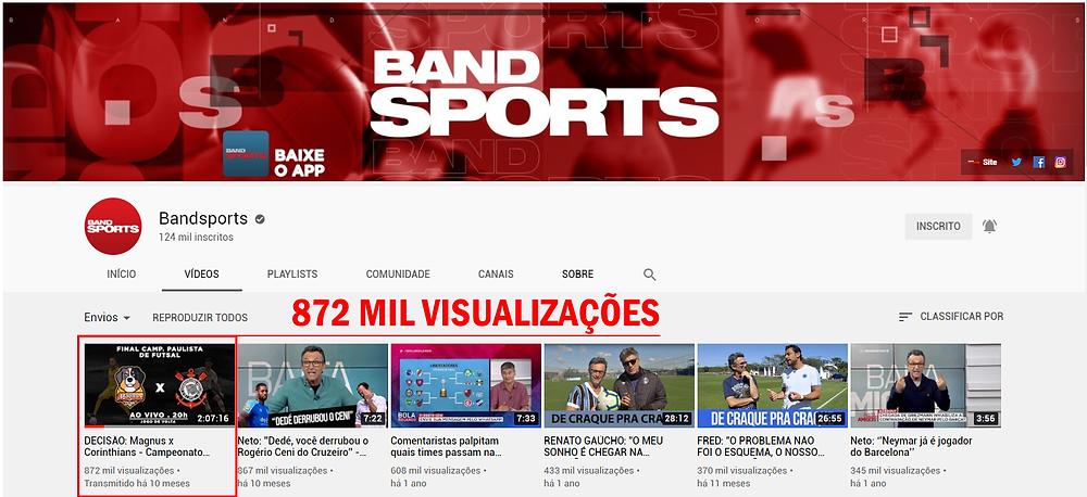 Crédito: Reprodução Canal Band Sports no Youtube