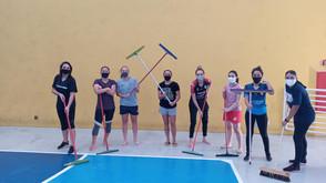 A Equipe do Taboao Magnus Feminino higienizou e limpou todos os equipamentos e o ginásio