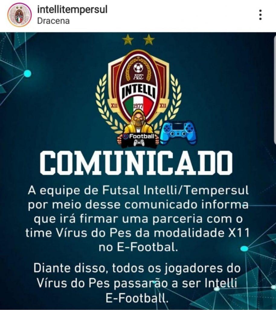 Em uma de suas redes sociais na internet, parceira do Dracena divulga a entrada da marca nos e-sports