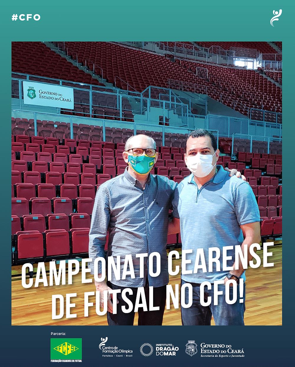 Crédito: CPO - pPresidente da Federação Cearense de Fustal, Roberto Oliveira do Vale ao lado do superintendente do CFO, Adriano Loureiro