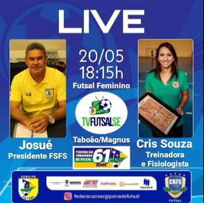 Live Federação Sergipana com a treinadora do Taboão Magnus Futsal, Cris Souza