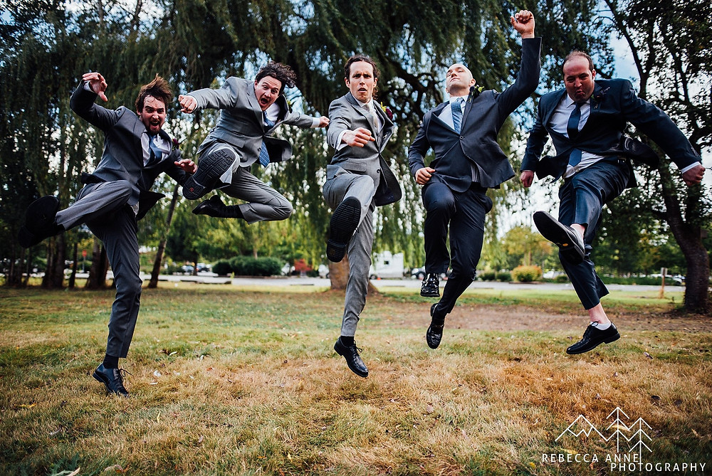 What Does a Wedding Party Do? | Outdoor Groomsmen Jumping Photo | Snohomish Wedding Coordinator