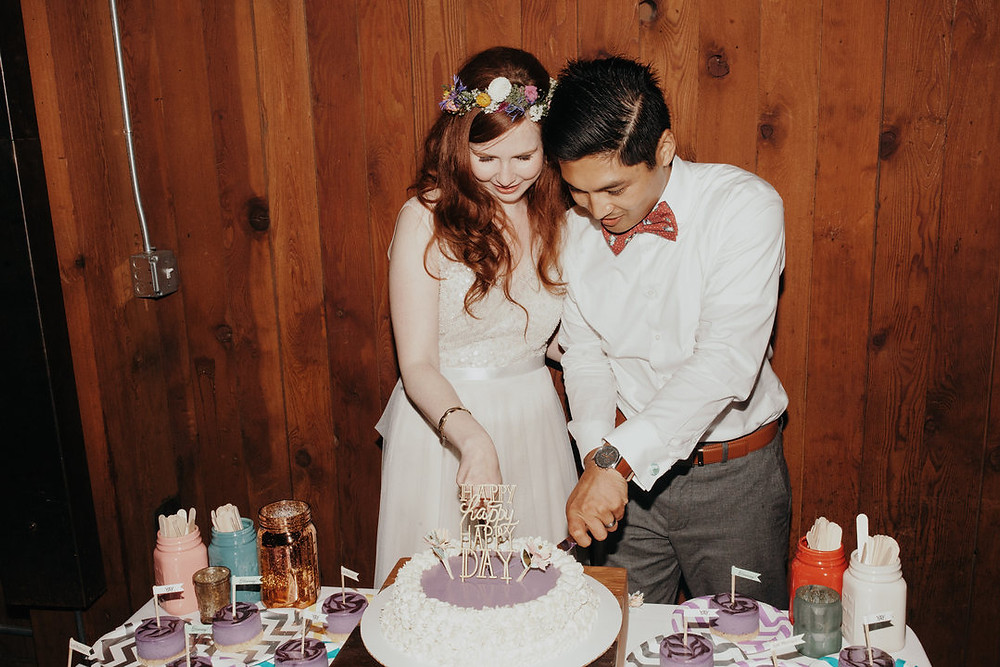 Wildflowers Within Sodo | Bride and Groom Cake-Cutting | Snohomish and Seattle Wedding Coordinator