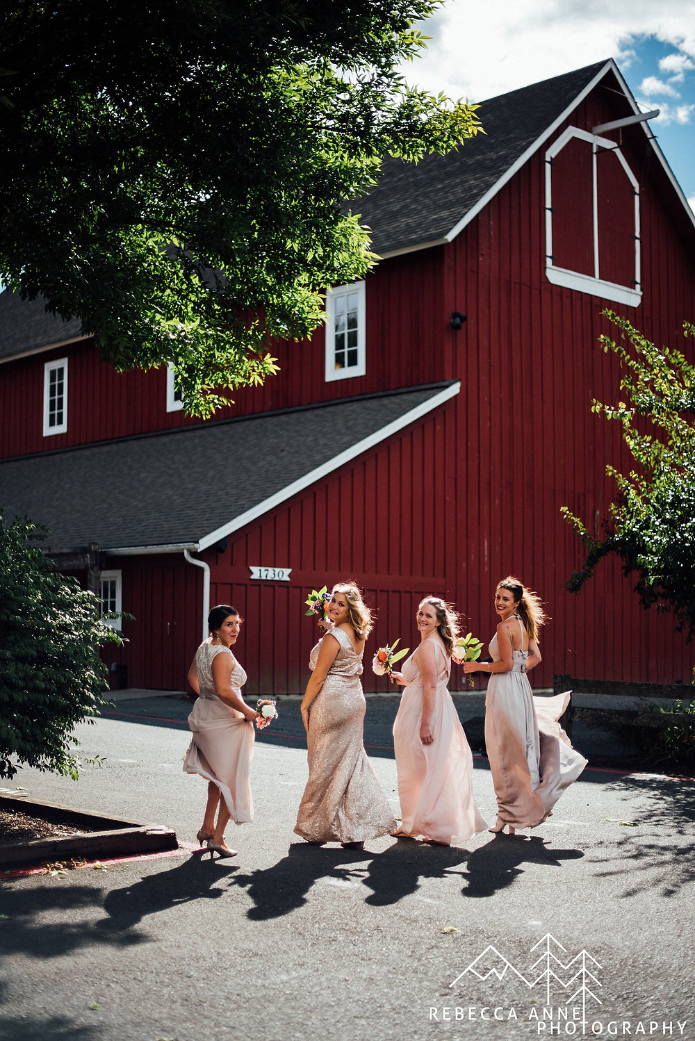What Does a Wedding Party Do? | Pickering Barn Bridesmaids with Metallic Dresses | Snohomish Wedding Coordinator