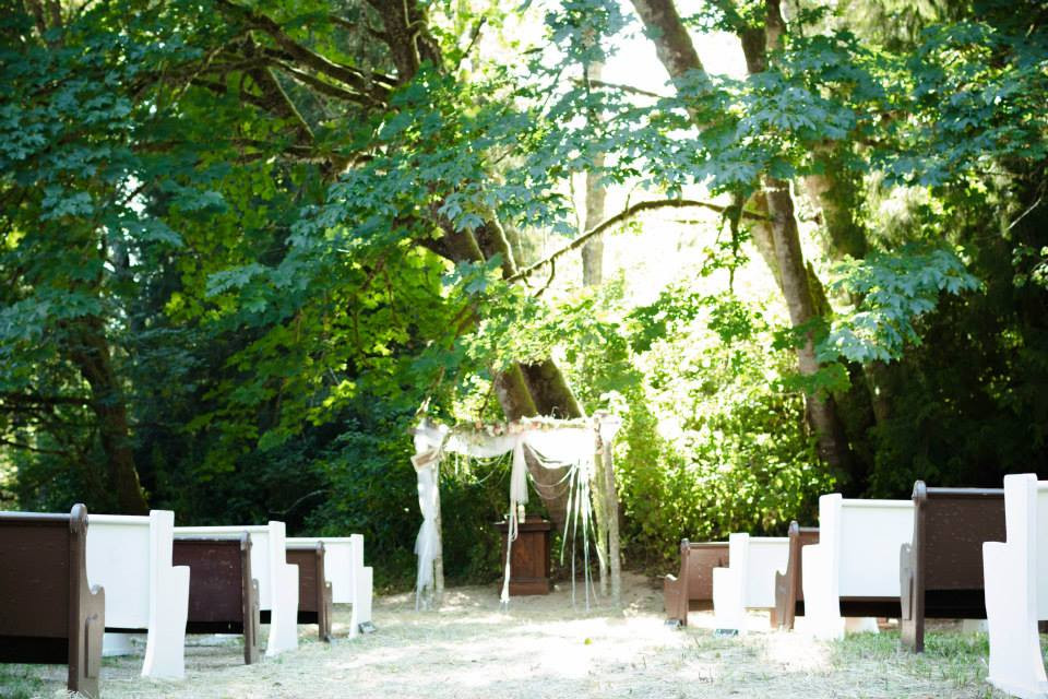 Boho Backyard Wedding | Curch Pews, Birch Arbor | Snohomish and Skagit Wedding Coordinator