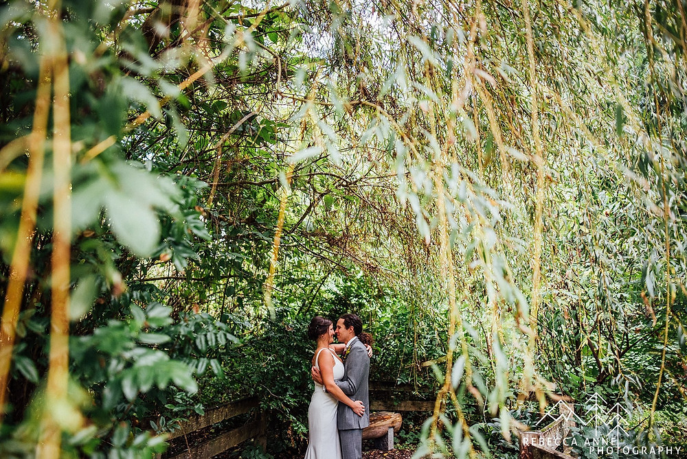 Pickering Barn Outdoor Wedding | Bride and Groom Portrait in Garden Greenery | Snohomish Wedding Coordinator