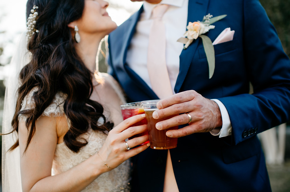 Breaking the Wedding Registry Tradition | Portrait of Bride & Groom Clinking Glasses at Reception | Snohomish Wedding Planners Prudence & Sage