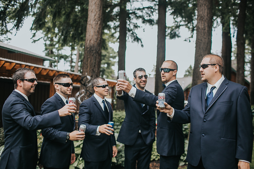 Responsibly Serving Alcohol at Your Wedding | Groomsmen Enjoying a Toast | Snohomish Wedding Planner