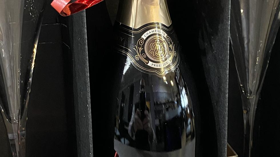 """Coffret """" champagne Duval-Leroy """" & 2 flûtes"""