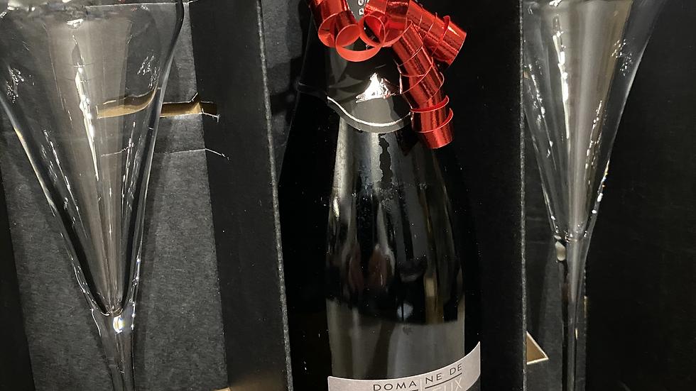 """Coffret Cadeau """"Crémant de Loire"""" et 2 flûtes"""