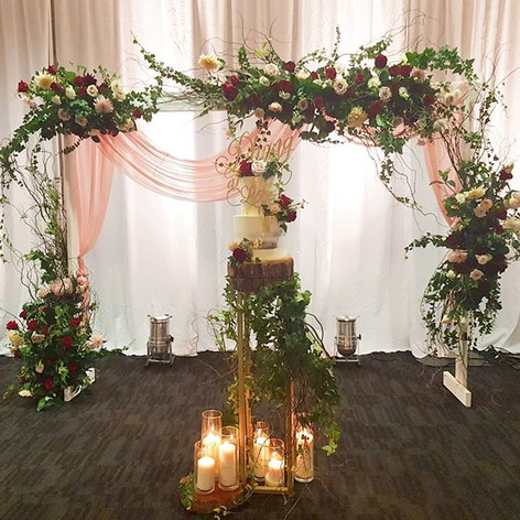 white wooden arbour hire