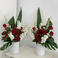 Red & White Sympathy Flowers