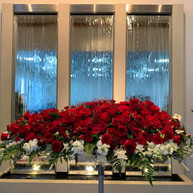 Red & White Casket Flowers