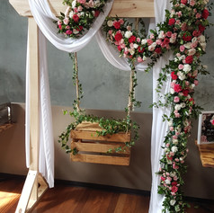 Cake Swing Arbour with Fresh Flowers