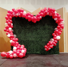 Hedge Wall with Balloon Garland