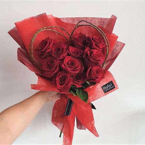 Scarlett Heart - Wrapped Bouquet