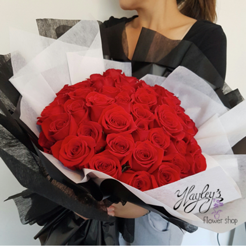 50 Long Stemmed Roses Bouquet, Red