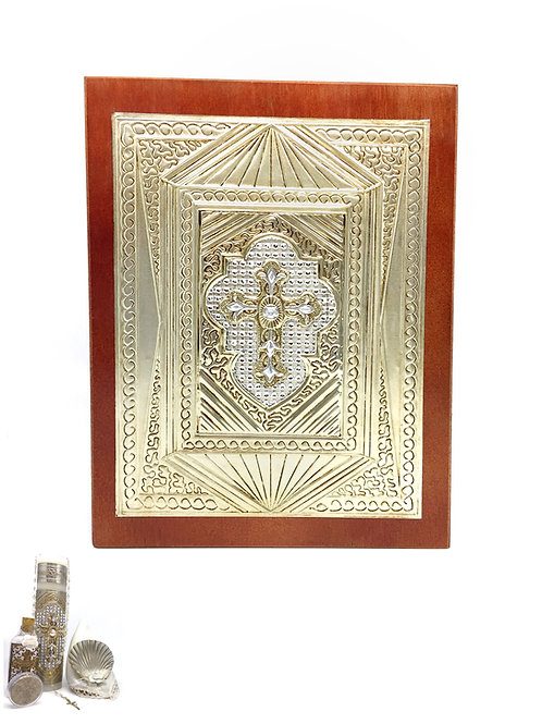 Repujado Baptism Set (Cross Rhinestone)
