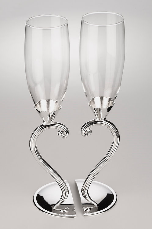 One Heart Toasting Flutes