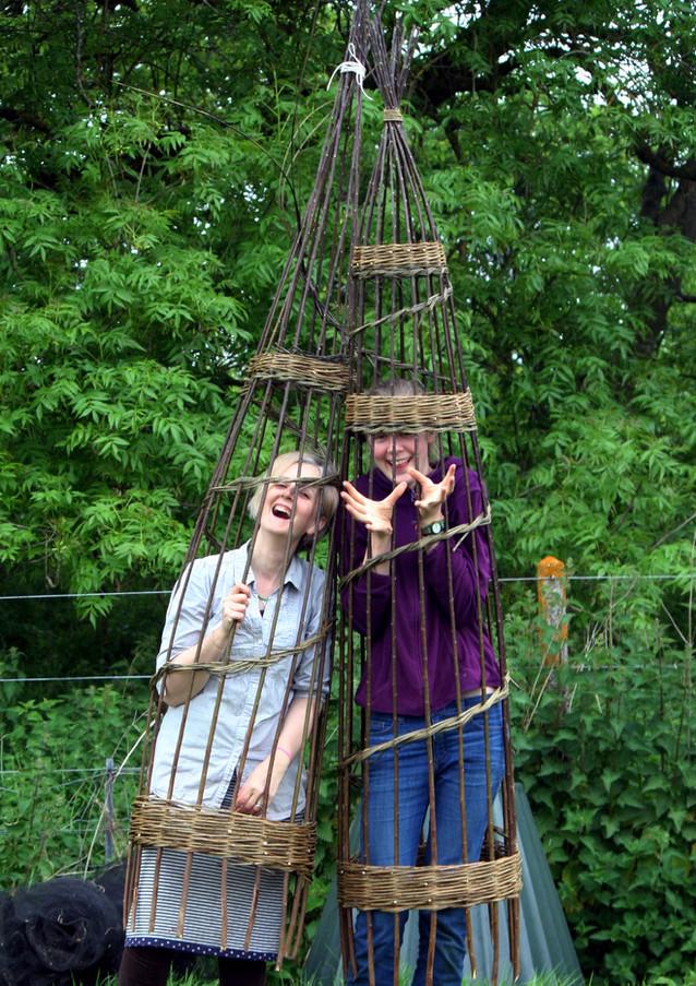 Basket cages.