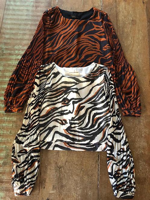 005 - Blusa feminina manga plissada